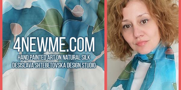 hand painted art on natural silk desislava shtebetovska design studio